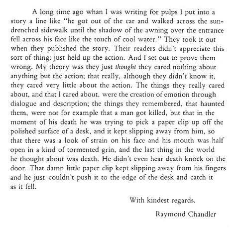 Raymond Chandler on Pulp Fiction